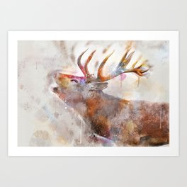 Waercolor Deer Art Print