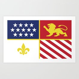City of Detroit Flag in Minimal Design | Coat of Arms Art Print