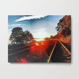 Sunset Railway Metal Print
