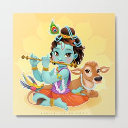 Baby Krishna with sacred cow Metal Print
