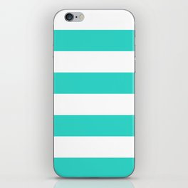Wide Horizontal Stripes - White and Turquoise iPhone Skin