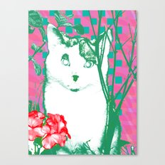 flower and cat Canvas Print