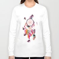 preppy Long Sleeve T-shirts featuring Hipster Watercolor Dreamcatcher Feathers Pattern  by Girly Trend