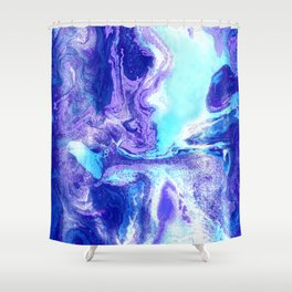 Swirling Marble in Aqua, Purple & Royal Blue Shower Curtain