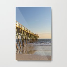 Outer Banks Fishing Pier and Ocean Seascape Metal Print