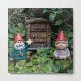 Welcome Gnome Metal Print