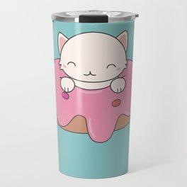 Kawaii Cute Cat Donut Travel Mug