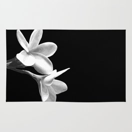 White Flowers Black Background Rug