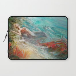 Mermaid sunbathing on the beach fantasy Laptop Sleeve