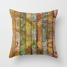 Around the World in Thirteen Maps Throw Pillow