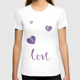 Love and hearts, calligraphy and pour painting design T-shirt