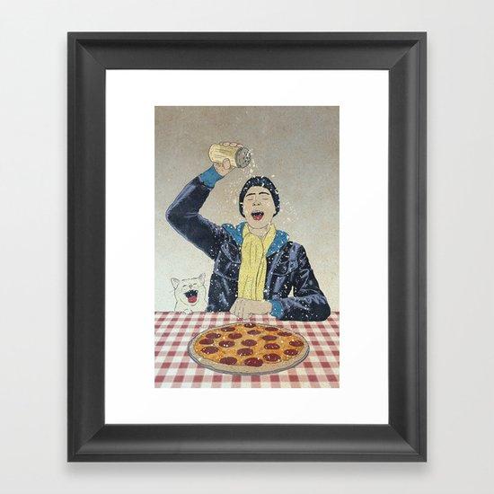 Make it snow... on my PIZZA! Framed Art Print