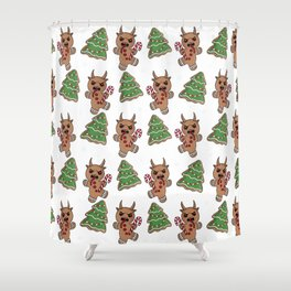 Gingerbread Krampus pattern Shower Curtain