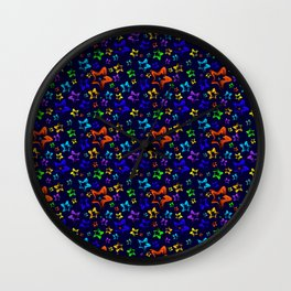 Pattern of cheerful children's shimmering stars on a blue background. Wall Clock