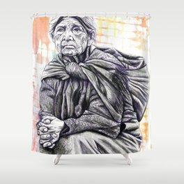 Old Lady Sitting Shower Curtain