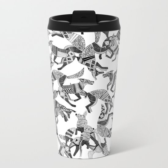 woodland fox party black white Metal Travel Mug