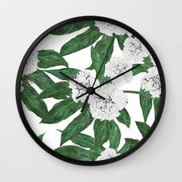 white hibiscus and Japanese Aralia Fatsia japonia leaves Wall Clock