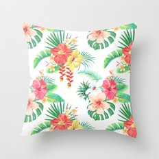 tropical watercolor floral pattern Throw Pillow