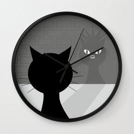 Black cat looks at his shadow #society6 #decor #buyart #artprint Wall Clock