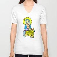 les mis V-neck T-shirts featuring Corrige, Santa María, mis faltas... de ortografía by Mis Santitos