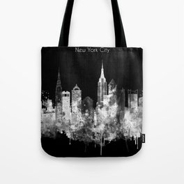 New York City Inverted Watercolor Skyline Tote Bag