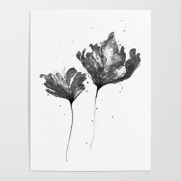 Flower 3, black and white Poster