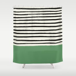 Moss Green x Stripes Shower Curtain
