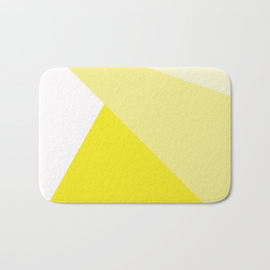 Simple Geometric Triangle Pattern- White on Yellow - Mix & Match with Simplicity of life Bath Mat