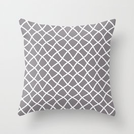 Light gray and white curved grid pattern Throw Pillow
