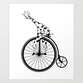Giraffe Riding A Penny-Farthing Bicycle Art Print