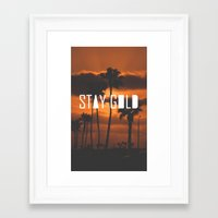 stay gold Framed Art Prints featuring Stay Gold by Trash Apparel