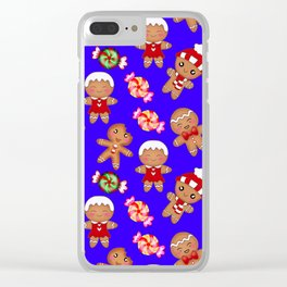 Cute decorative hygge pattern. Happy gingerbread men and sweet xmas caramel toffee candy. Xmas. Clear iPhone Case
