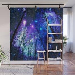 black trees purple blue space Wall Mural