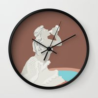 kansas city Wall Clocks featuring Kansas City Mermaid Fountain by greetingsfromKC