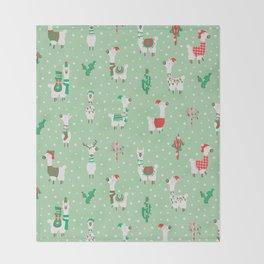 Christmas llama Throw Blanket