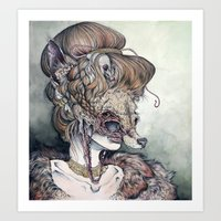 pen Art Prints featuring Vulpes Masquerade, now as a print! by Caitlin Hackett