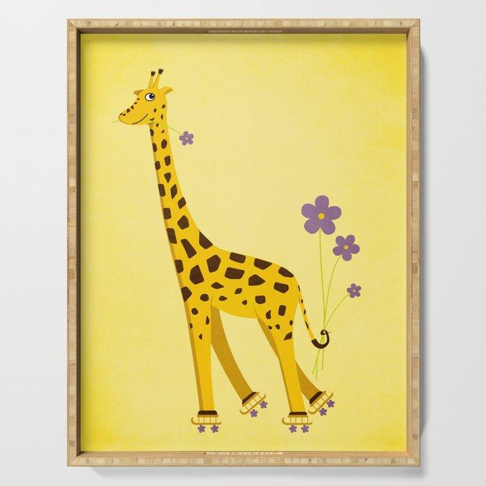 Funny Roller Skating Giraffe In Yellow Serving Tray