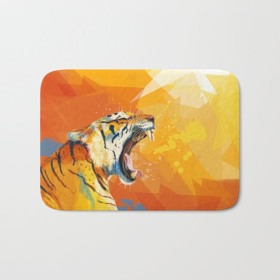 Tiger in the morning Bath Mat