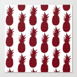 Red Plaid Pineapple Pattern Canvas Print