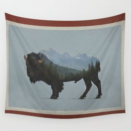 Wyoming Bison Flag Wall Tapestry