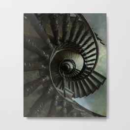 Brown wooden spiral staircase Metal Print