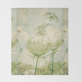 Sanctuary -- White Queen Anne's Lace Meadow Wild Flower Botanical Throw Blanket