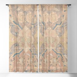Persian Motif III // 17th Century Ornate Rose Gold Silver Royal Blue Yellow Flowery Accent Rug Patte Sheer Curtain