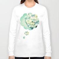 hydrangea Long Sleeve T-shirts featuring MINT HYDRANGEA by VIAINA