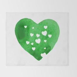 Green Hearts Throw Blanket