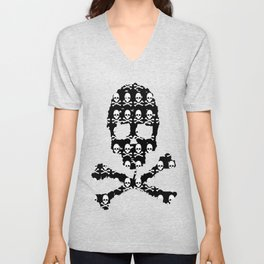 Skull and XBones in Black and White Unisex V-Neck