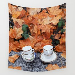 Teacups in the rain in Vancouver Wall Tapestry
