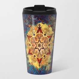 Star Shine in Gold and Blue Travel Mug