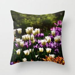 Purple and White Tulips Throw Pillow
