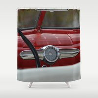 ford Shower Curtains featuring Antique Ford Dashboard by Alaskan Momma Bear